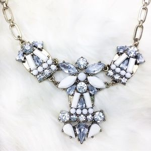 Jewelry - Silver and White Gem Statement Necklace